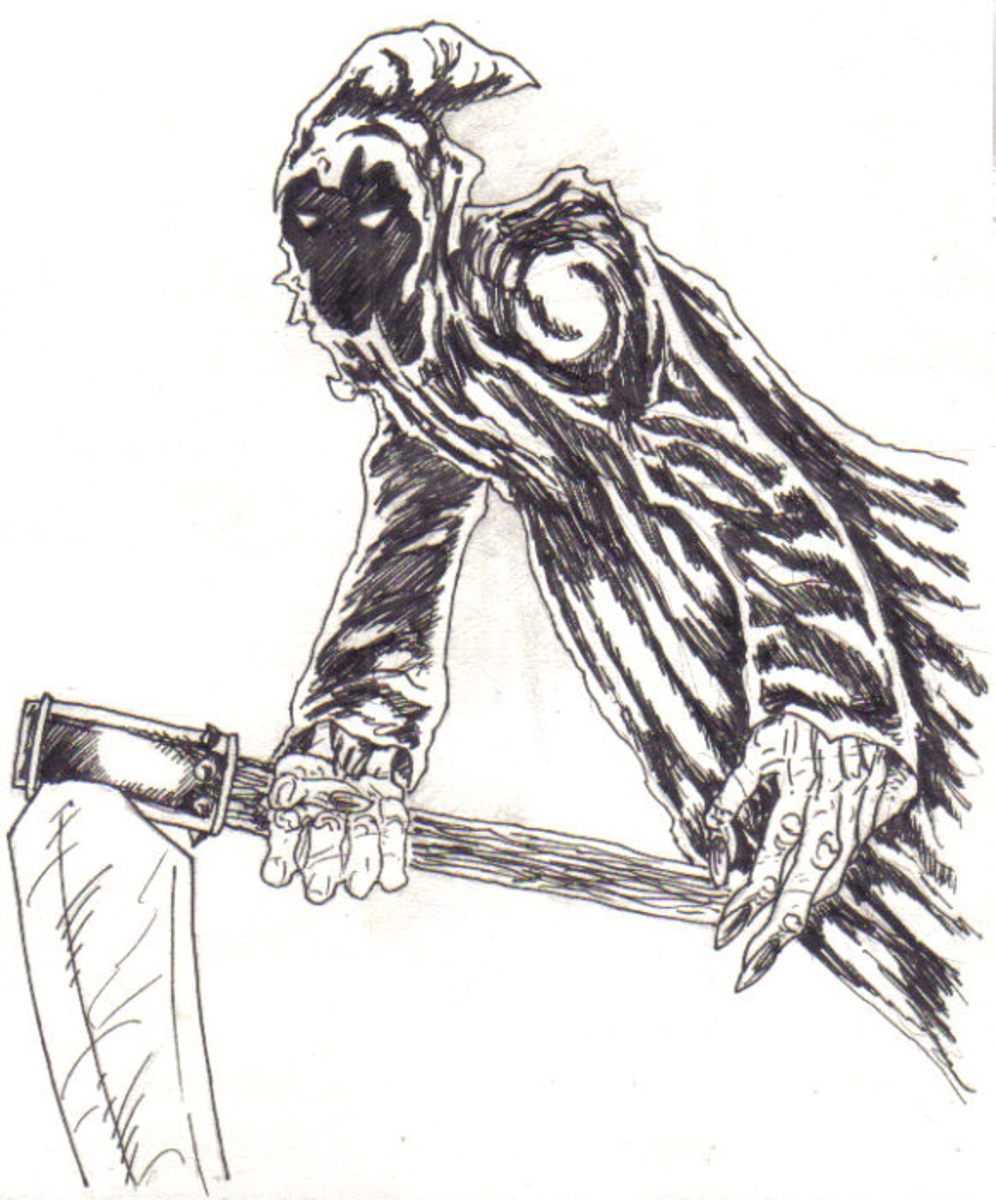 Final inked drawing of the grim reaper.
