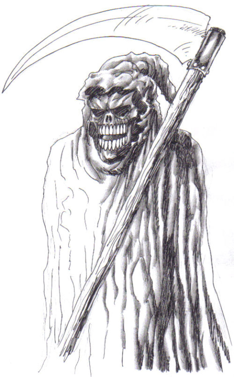 Grim reaper with floating scythe.