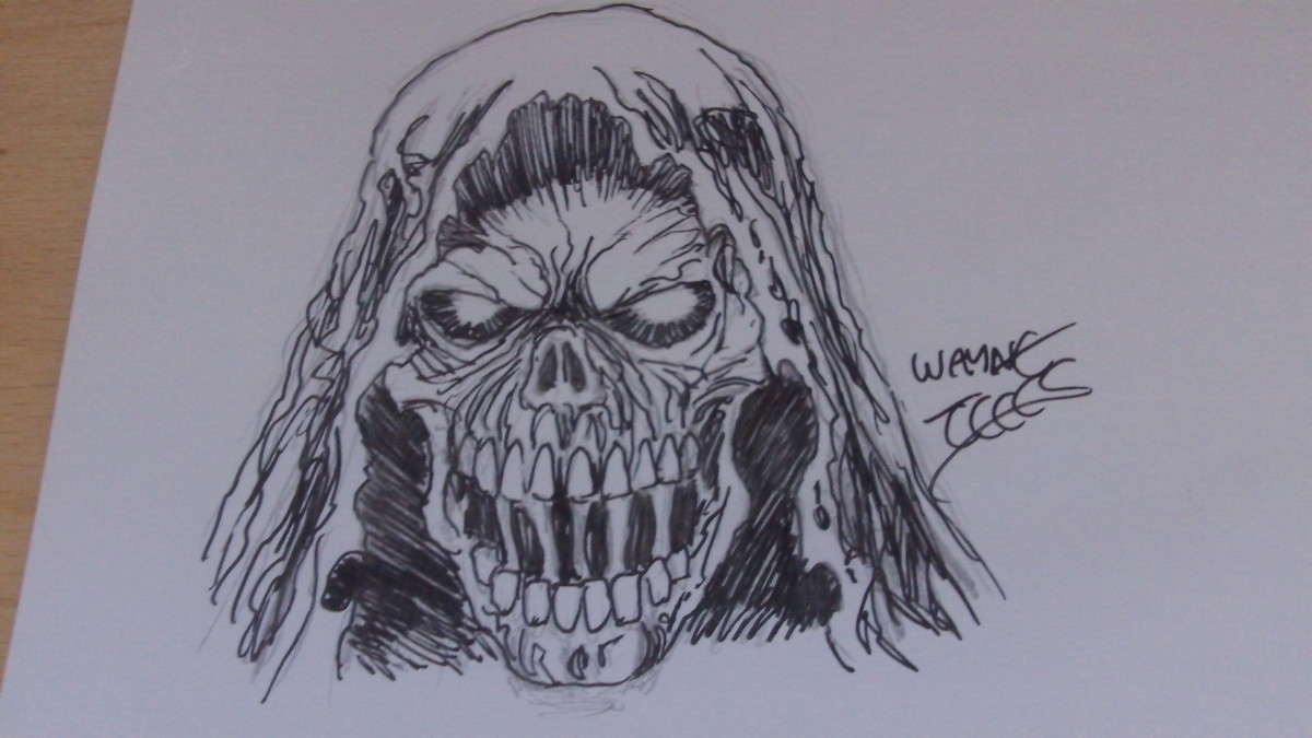 The finished Grim Reaper head inked with my Artist signature. Copyright Wayne Tully.