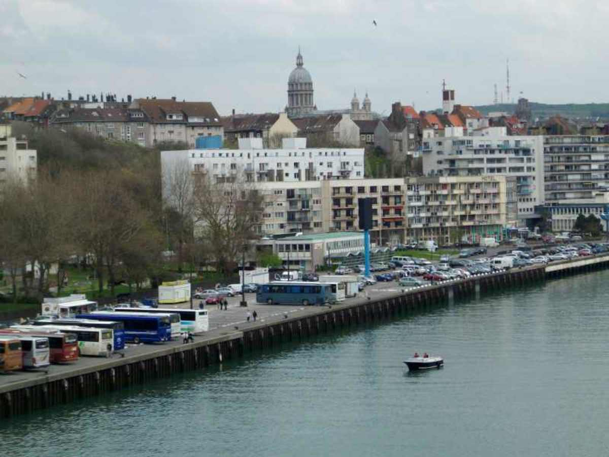 Boulogne Sur Mer From The Ferry - The Basilica Of Notre Dame In The Background