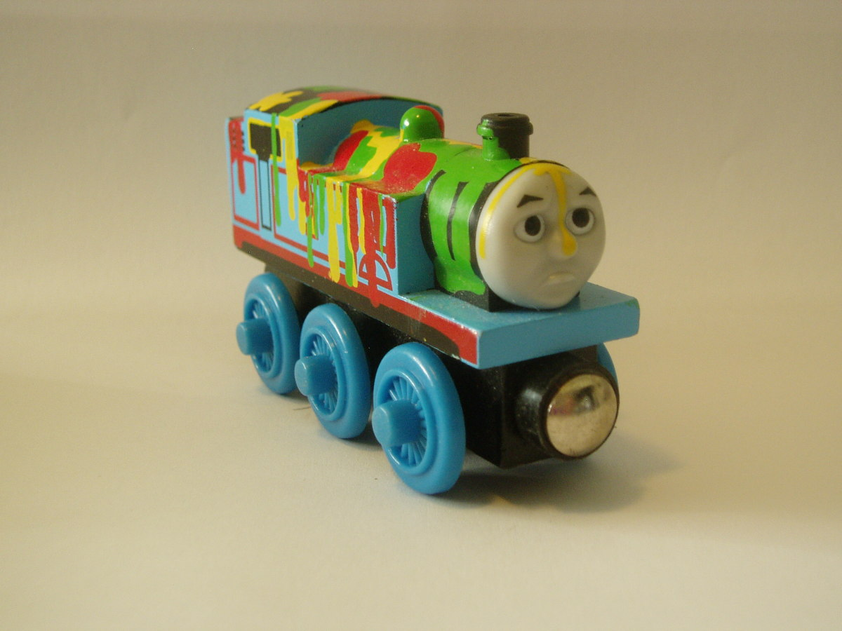 Wooden Paint Splatter Thomas