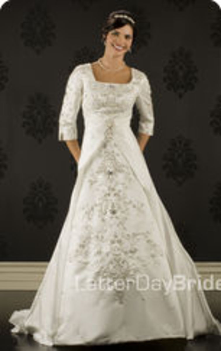 photo credit: latterdaybride.com/modest-wedding-dresses,    Morlotti, price $985