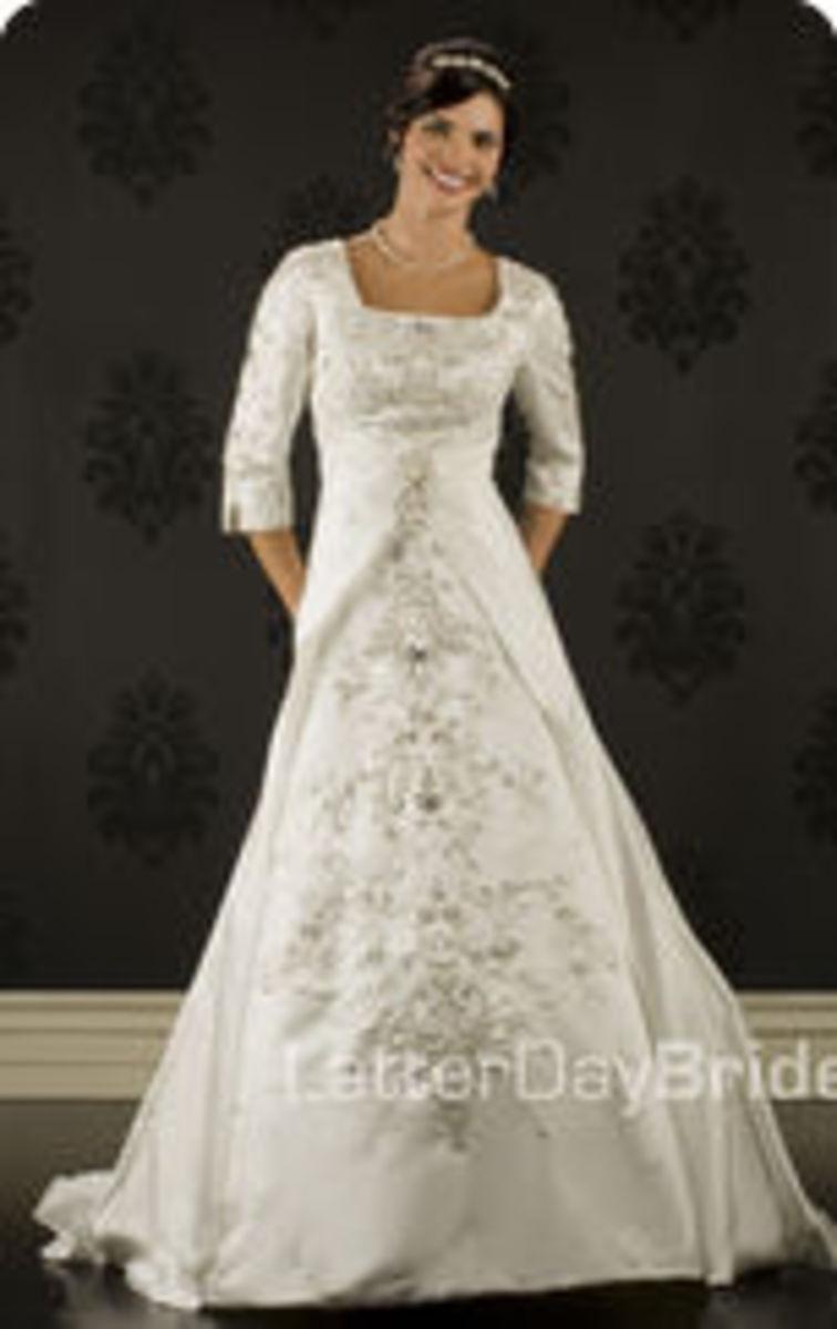 photo credit: latterdaybride.com/modest-wedding-dresses,    Morlotti, price $985