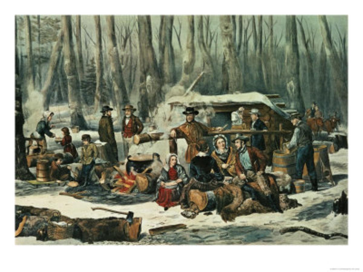 American Forest Scene, Maple Sugaring, 1856