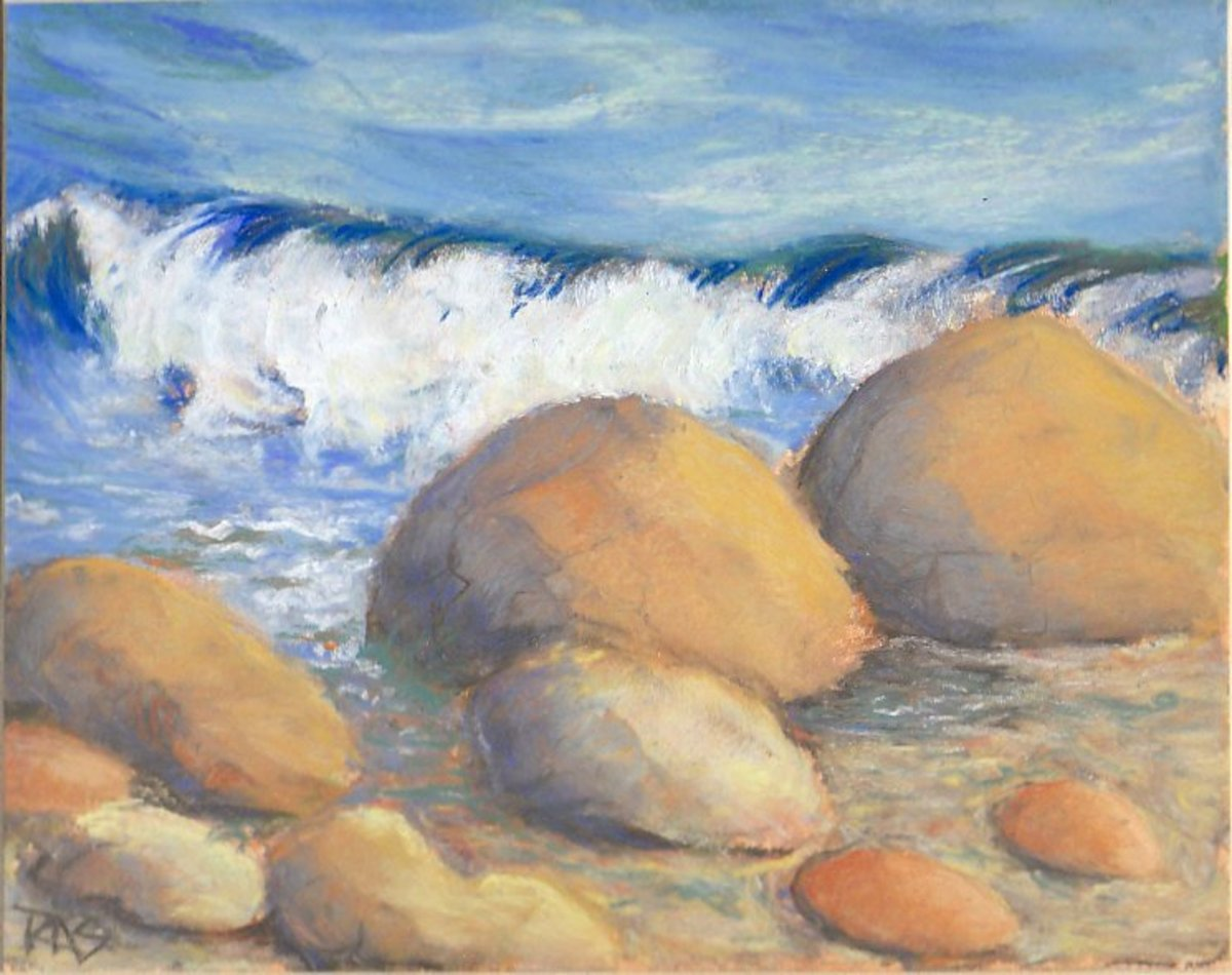 """Waves On Rocks"" 8"" x 10"" in Yarka soft pastels on sanded pastel paper, by Robert A. Sloan"