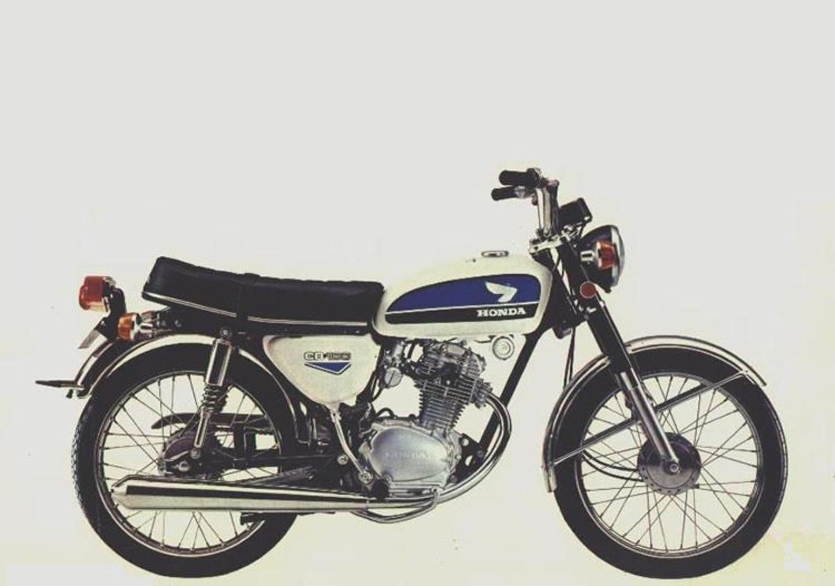 This is the memorable CB100 from 1972, but the same engine still powers hundreds of thousands of motorcycles across Asia today.