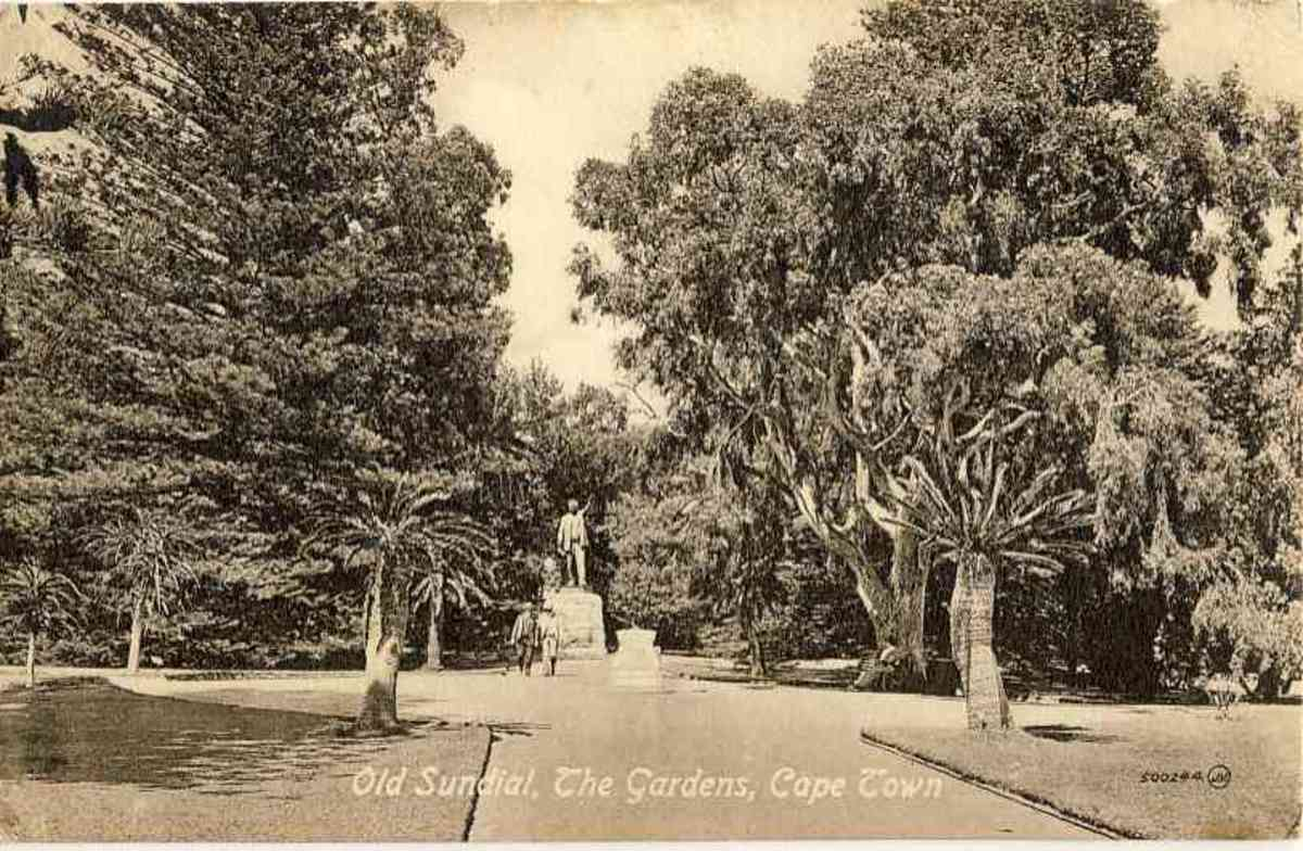 The Gardens with sundial and statue of Cecil John Rhodes