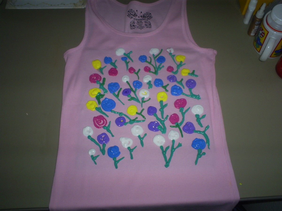 Here is a shirted that I painted with impressionistic roses.