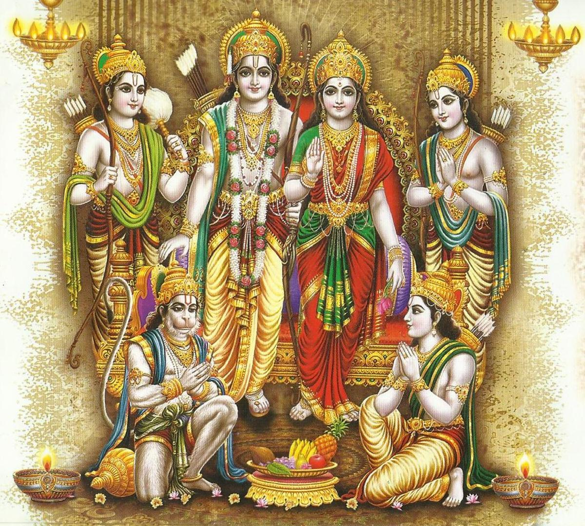 Lord Rama with Brothers, Sita and Hanuman.