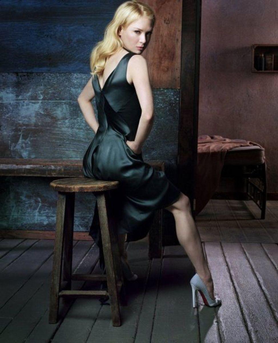 Renee Zelleweger in an Entertainment Weekly photoshoot wearing towering high heels