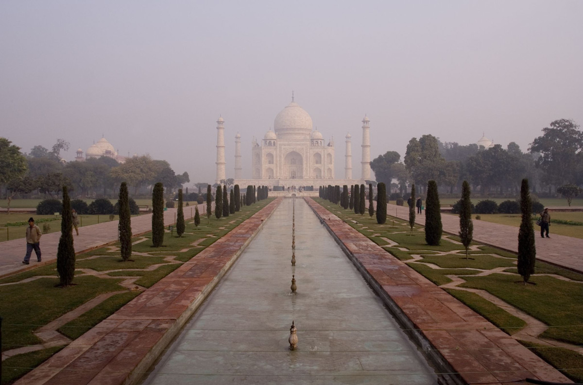 The Taj Mahal is probably the most recognisable of all Indian landmarks.  It was constructed as a mausoleum by Shah Jahan for his wife, Mumtaz Mahal.  Photo by diametrik and distributed under Creative Commons Attribution 2.0 license.
