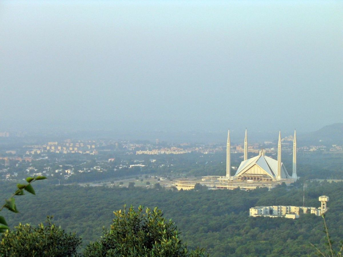 The Faisal mosque located in Islamabad is the largest mosque in Pakistan, and also the national mosque.  It can accomodate up to 300,000 worshippers at a time.  Photo by geoaxis and disturbuted under Creative Commons Attribution-Share Alike 2.0.