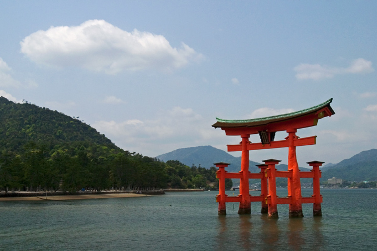 A torii is a gate found at the entrance to a Japanese shrine, and this one is at the entrance to the Itsukushima shrine.  Photo by Lightmatter under Creative Commons Attribution 2.0 License.