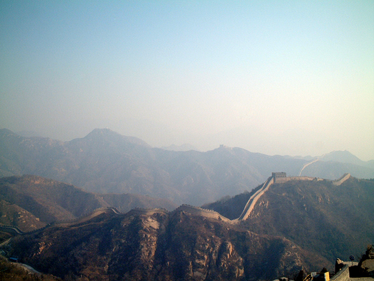 The Great Wall of China is actually a series of walls which stretch for over 5500 miles across Northen China.  They were built to defend China from attack from the north.  This photo is included under a Creative Commons Attricution-Share Alike 2.0 Li