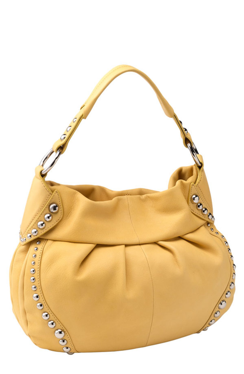 B Makowsky Studded Soft Pleated Hobo Handbag