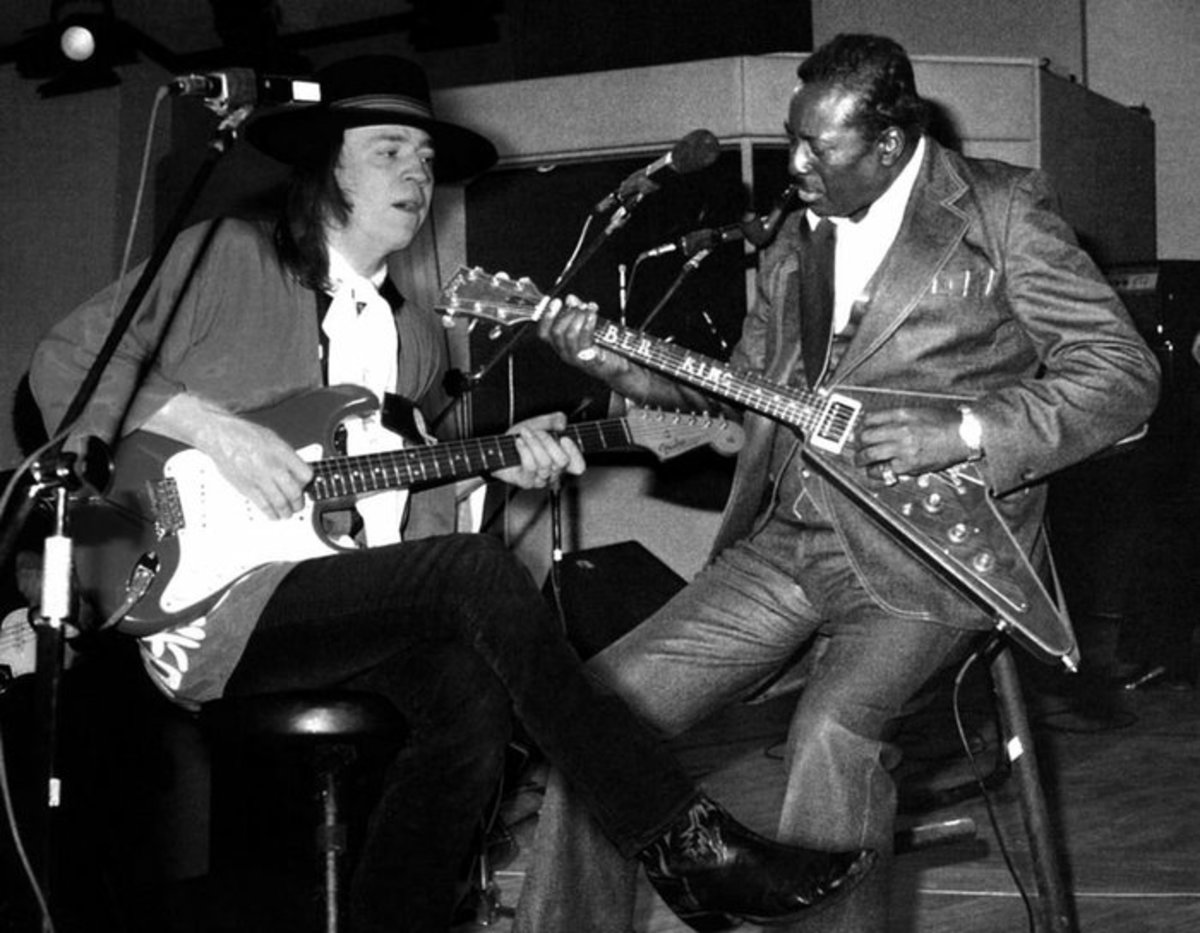 Albert King (right) and Stevie Ray Vaughan