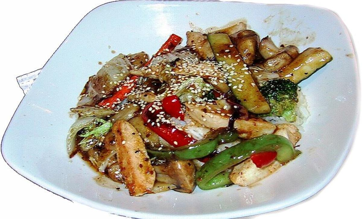 Chicken Teriyaki with peppers and the Zucchini and Onion recipe
