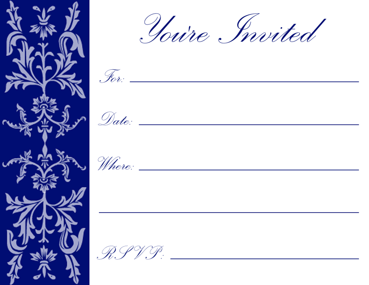 Dark blue formal floral filigree on white background -- perfect for New Year parties