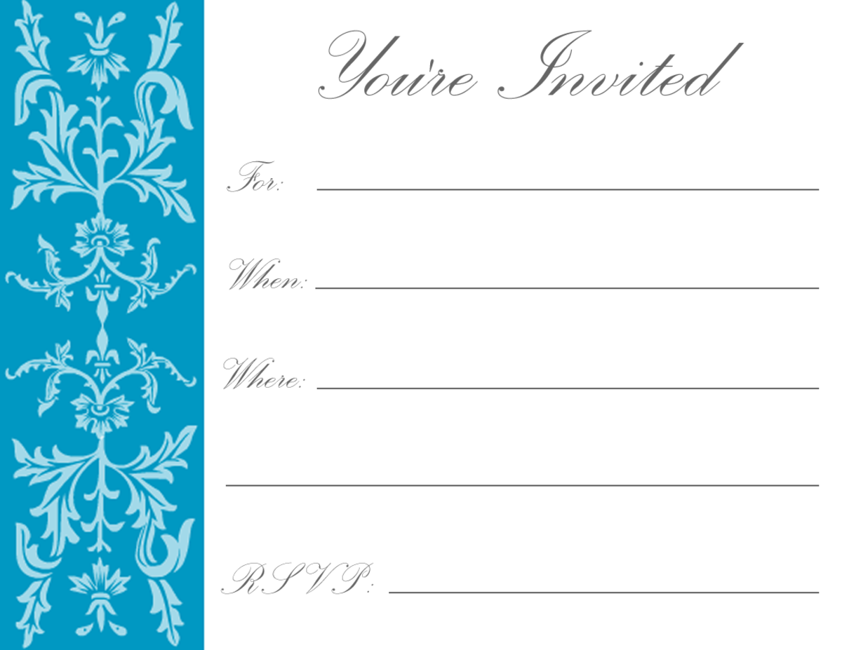 Teal formal floral filigree on white background -- great for holiday parties