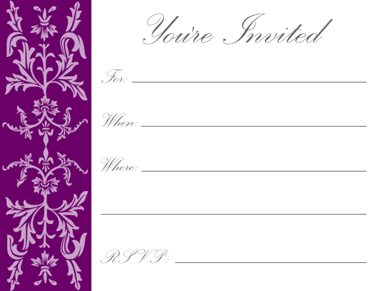 Aubergine formal floral filigree on white background -- great for New Year parties