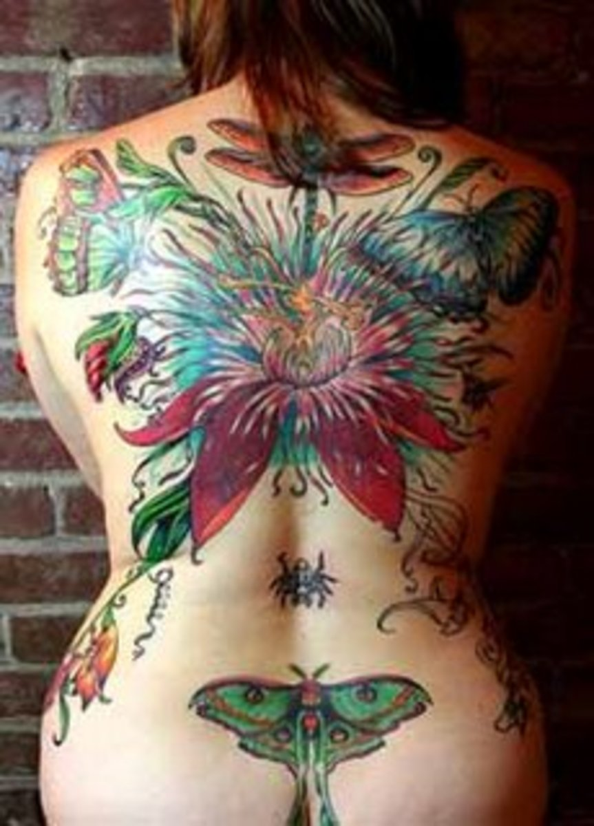Full back dragonfly, butterfly, flower tattoo