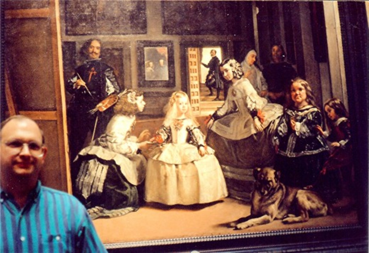 Partial view of Las Meninas and my husband