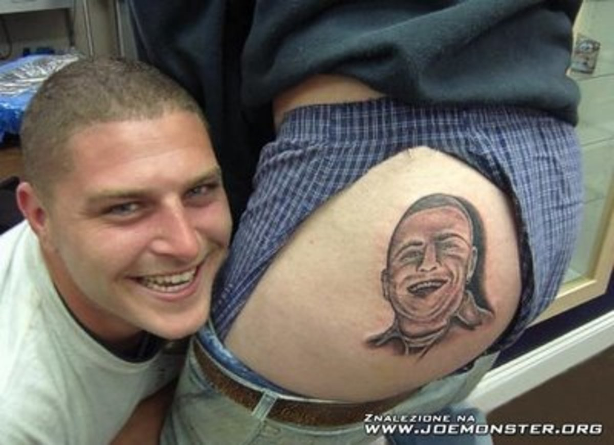 The hottest gift to give for Christmas, showing your friend you love him with his face tattooed on your ass! (How do you explain this to your girlfriend?)