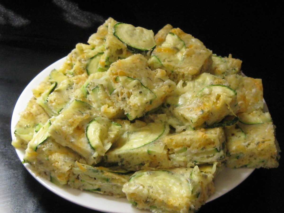 Zuchini Appetizers cut in squares