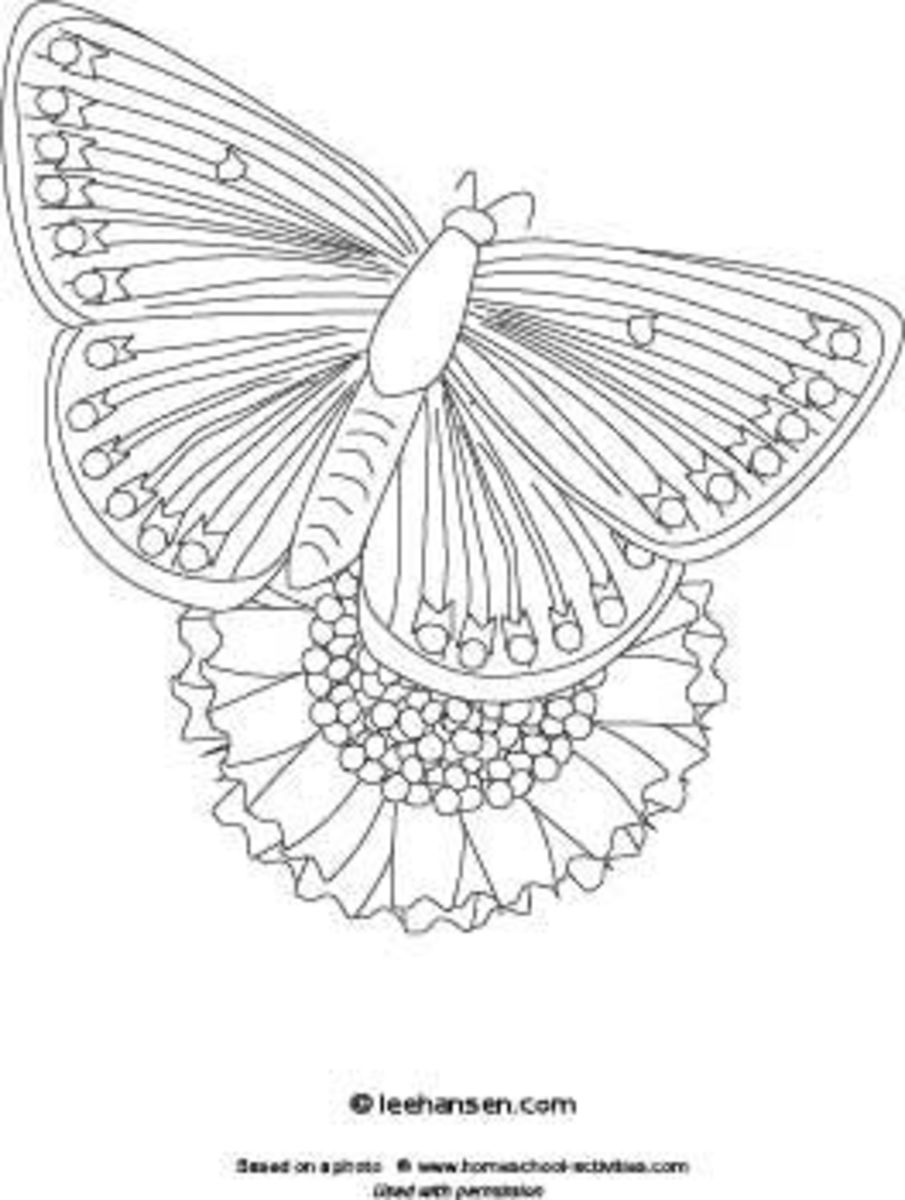 Butterfly coloring page, printable at Pastiche Family Portal