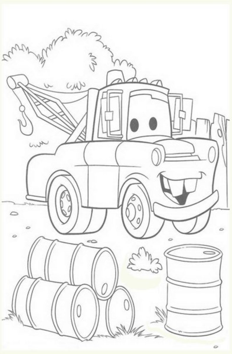 Mater from Cars Movie - Vehicle Transportation Coloring Pages Printable