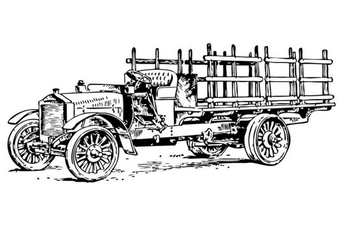 Farm Truck - Vehicle Transportation Coloring Pages Printable