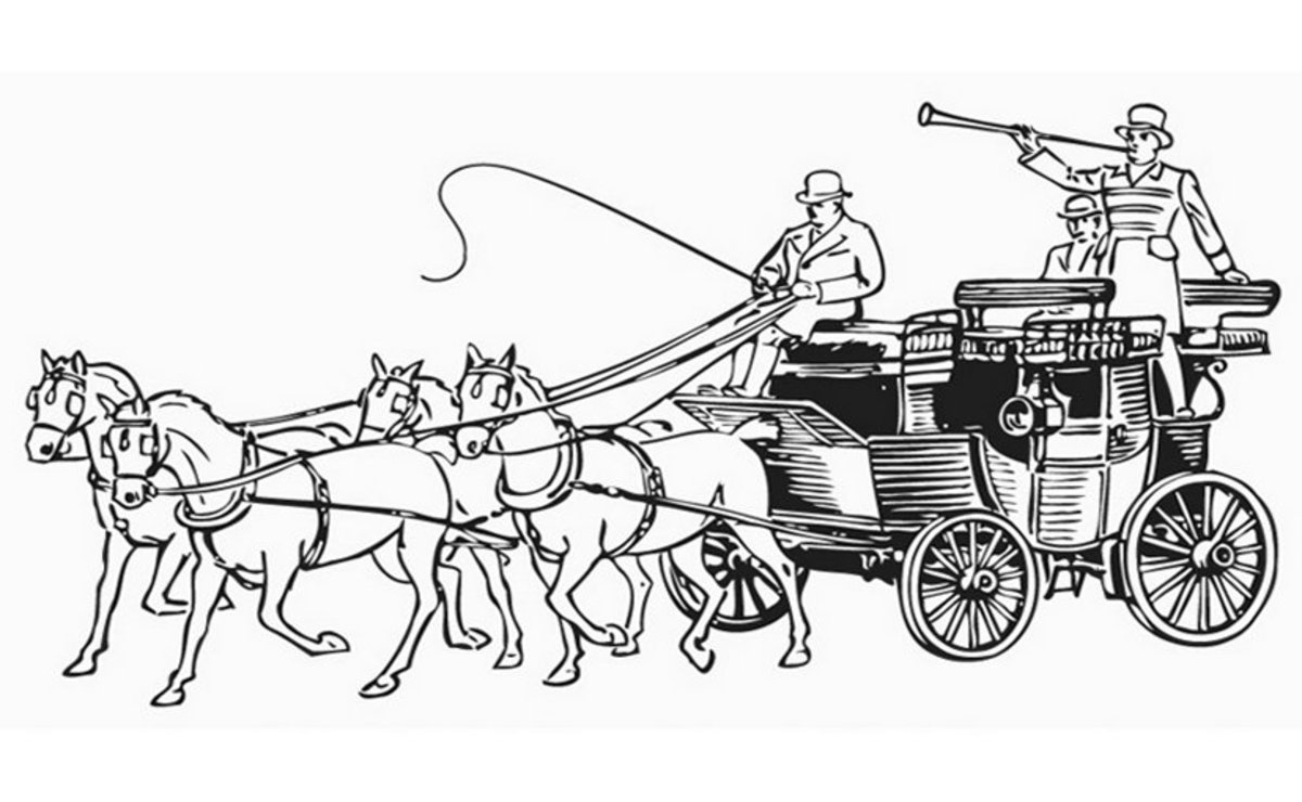 Stagecoach - Vehicle Transportation Coloring Pages Printable