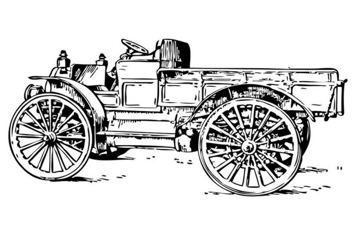 Classic Horseless Carriage - Vehicle Transportation Coloring Pages Printable