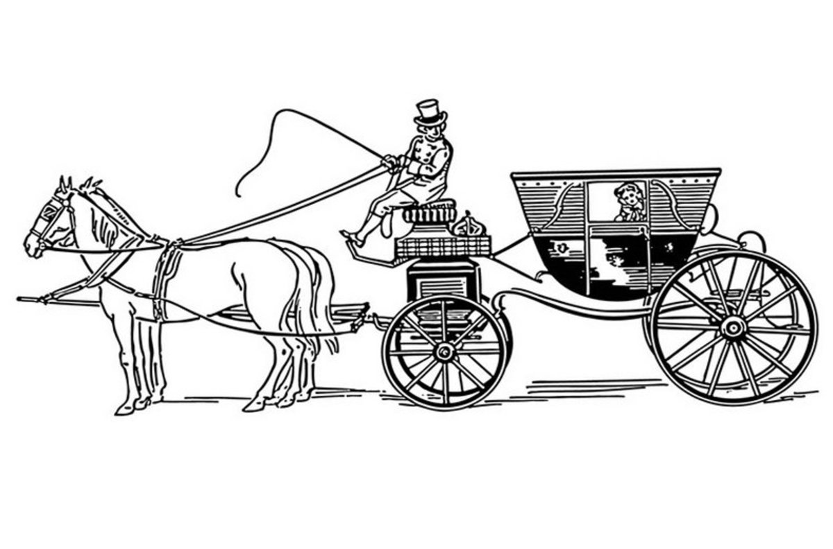 Classic Horse Drawn Carriage - Vehicle Transportation Coloring Pages Printable