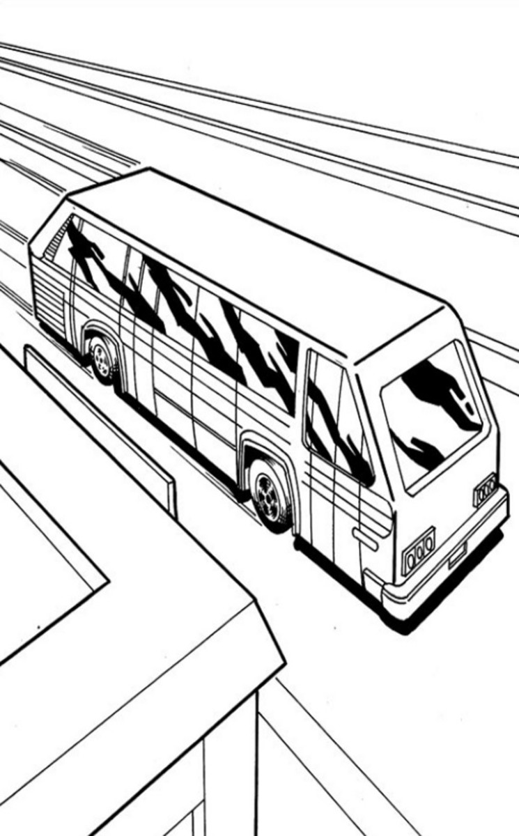 Bus Drawing  - Vehicle Transportation Coloring Pages Printable
