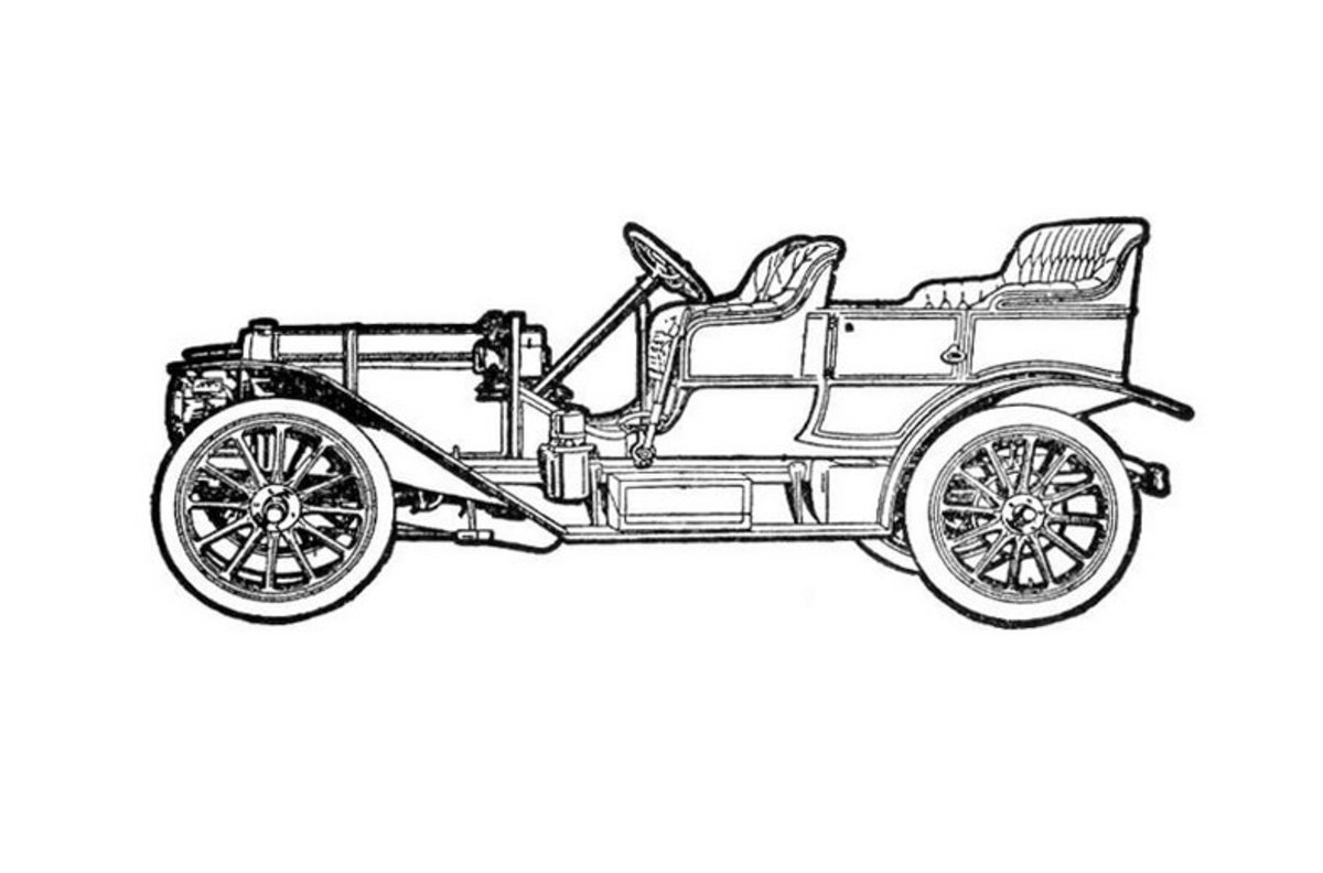 Classic Touring Car - Vehicle Transportation Coloring Pages Printable