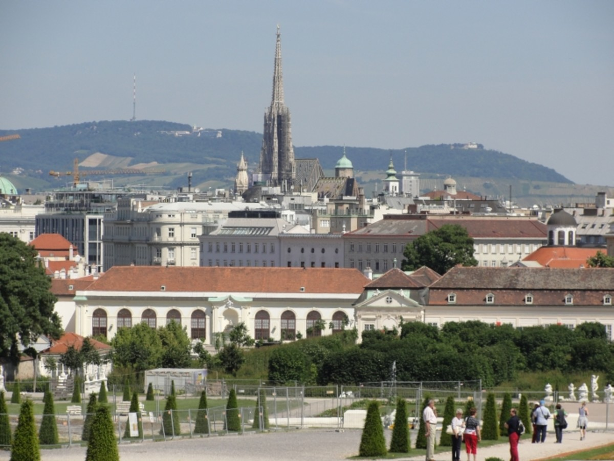 View of the Inner city of Vienna as seen from the Belvedere. In the background the Easternmost hills of the European Alps.