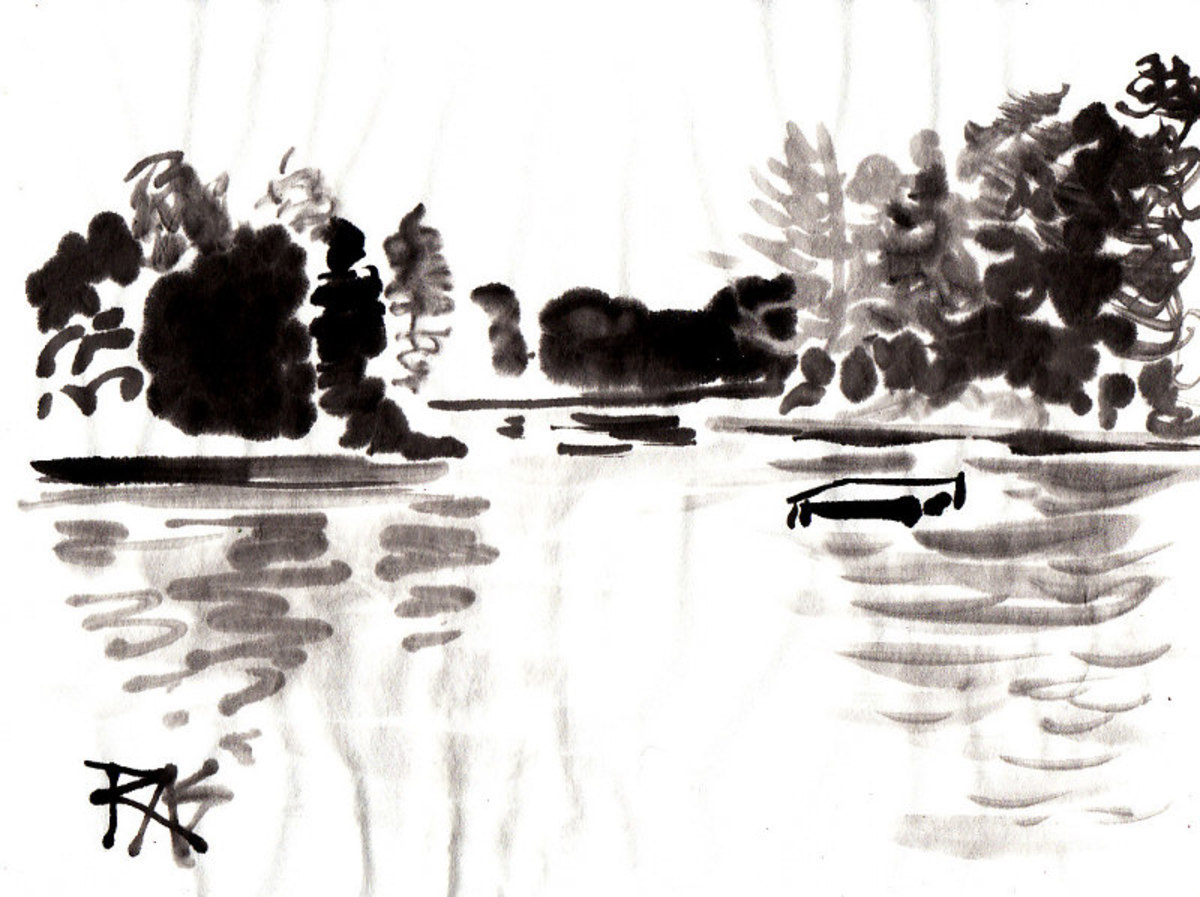 Lake Scene with Raft, sumi-e painting by Robert A. Sloan from photo reference by Helen on WetCanvas.com