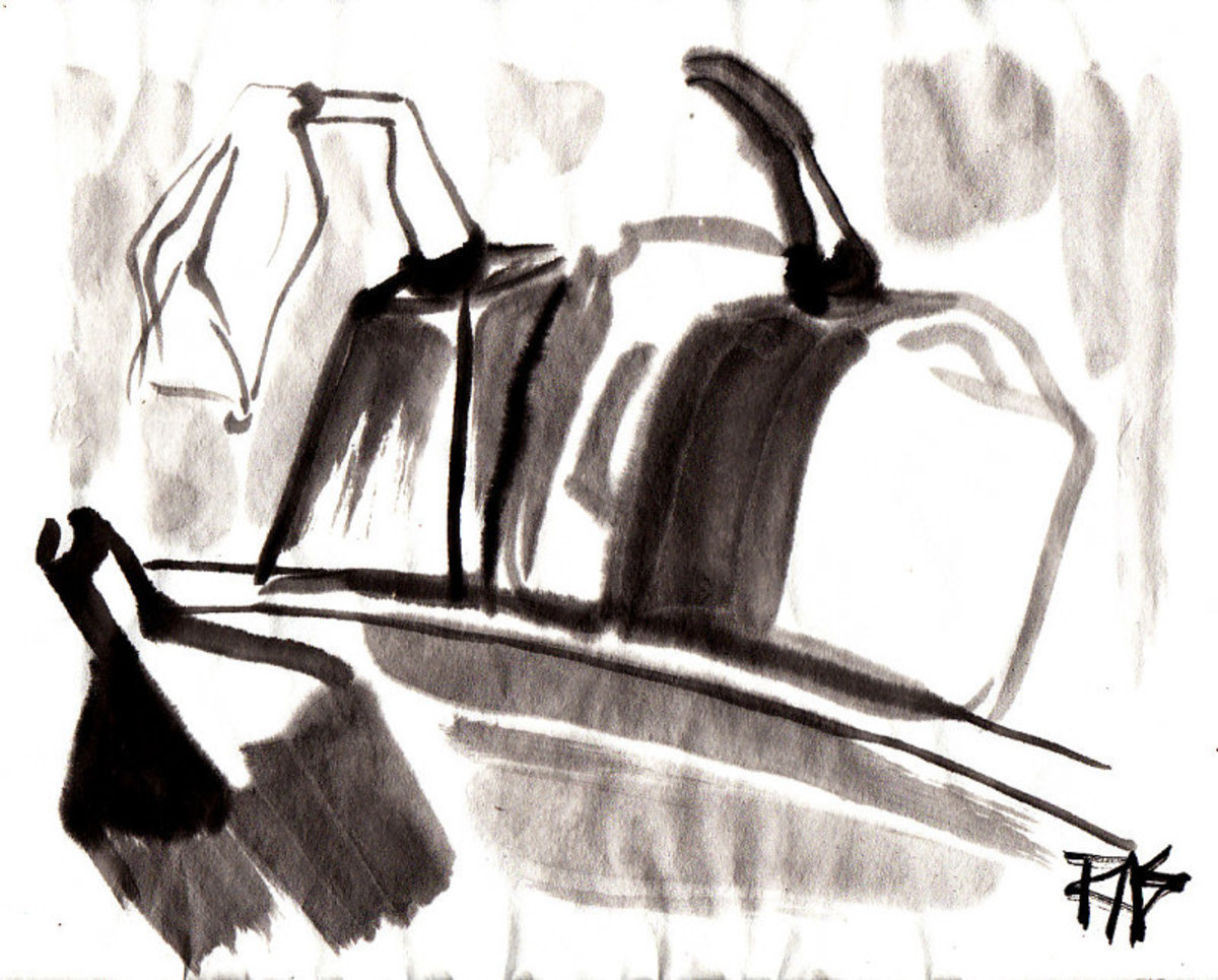 Gas Cans, sumi-e painting by Robert A. Sloan from photo reference on WetCanvas.com posted by Helen.