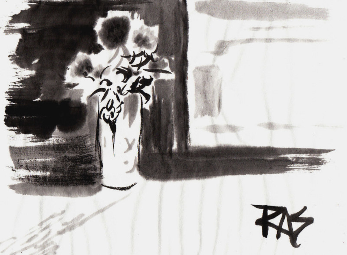 Flower Vase in Sunlight, sumi-e painting by Robert A. Sloan from photo reference by Helen posted on WetCanvas.com