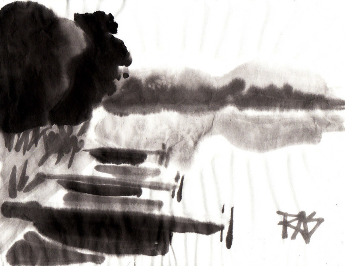 Docks on Spider Lake, MI - 1 painted in sumi-e ink with Chinese brushes on rice paper by Robert A. Sloan from a photo reference by Helen on WetCanvas.com