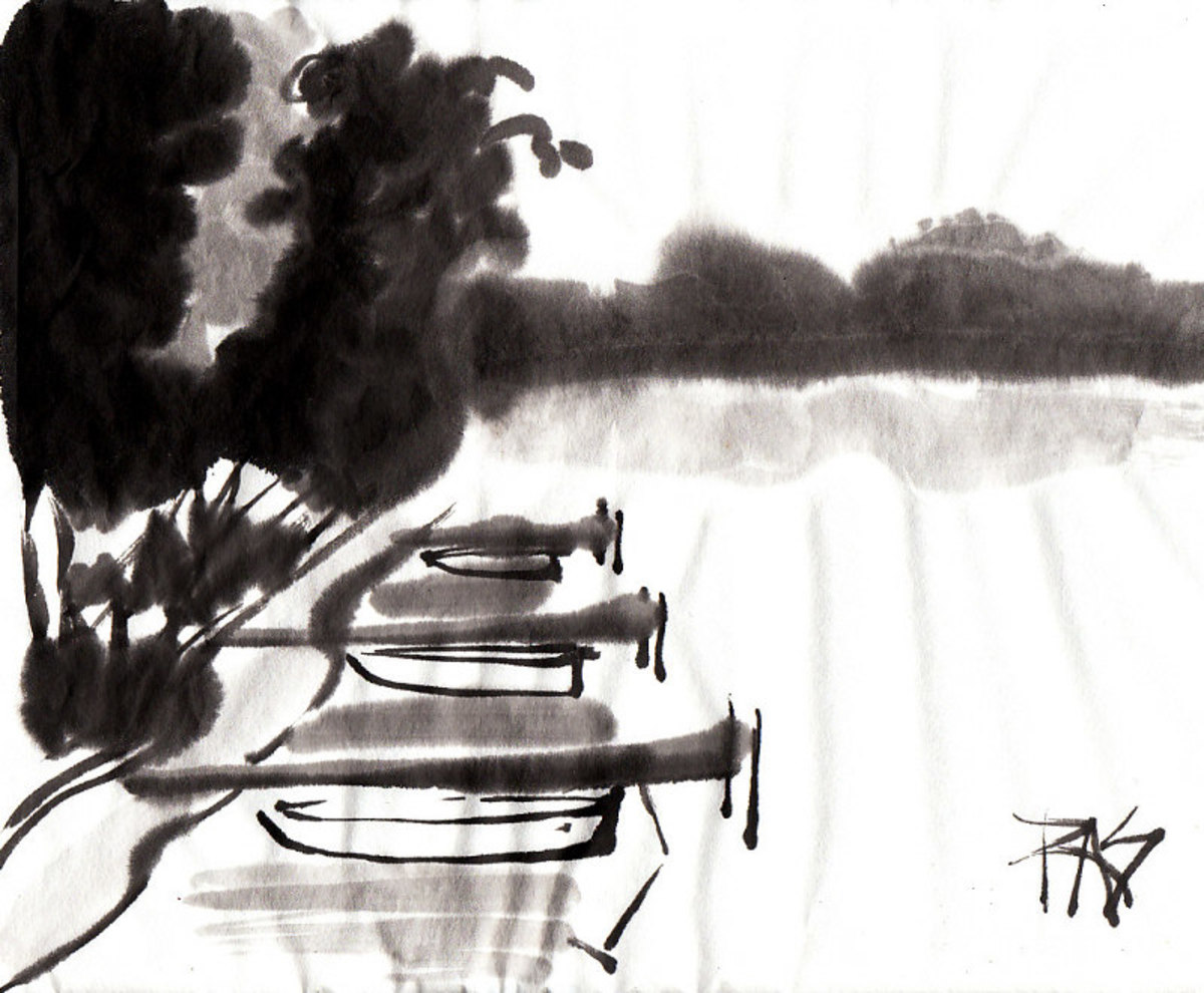 Docks on Spider Lake 2 -- Robert A. Sloan from photo reference posted by WC member Helen on WetCanvas.com