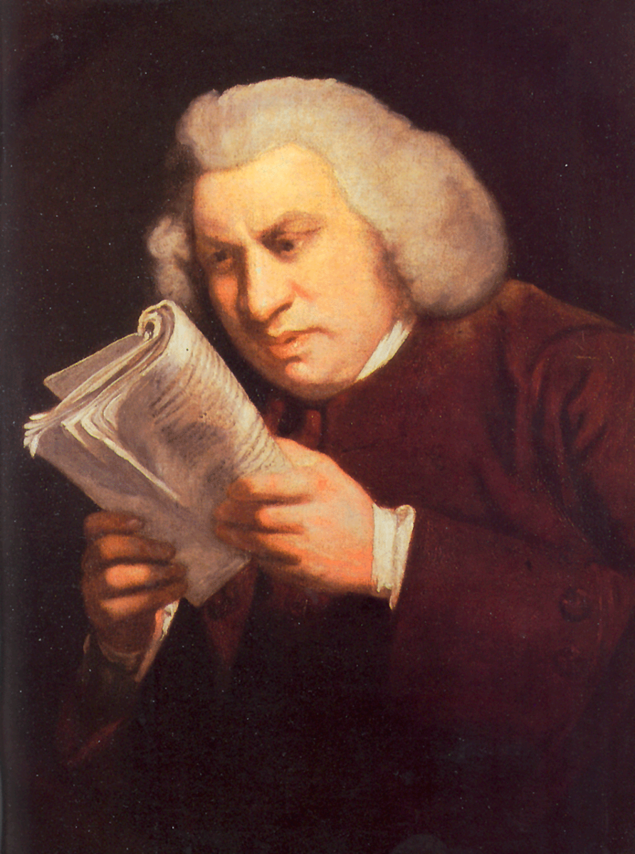 DR SAMUEL JOHNSON 1709-1784 CREATED THE DICTIONARY OF THE ENGLISH LANGUAGE