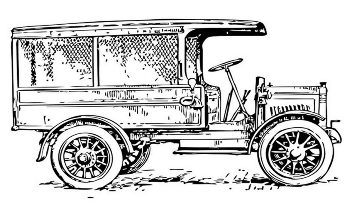 Classic Delivery Truck - Vehicle Transportation Coloring Pages Printable