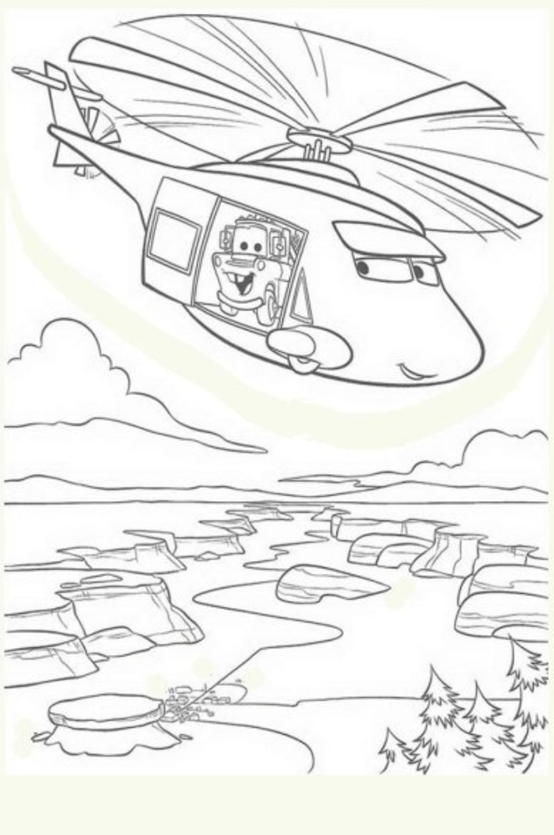 Mater Takes a Helicopter Ride - Vehicle Transportation Coloring Pages Printable