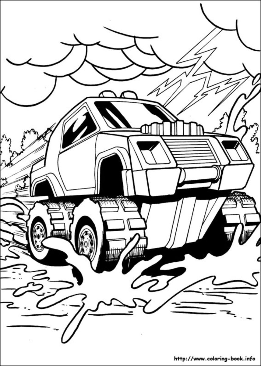 Monster truck Car Drawing - Vehicle Transportation Coloring Pages Printable