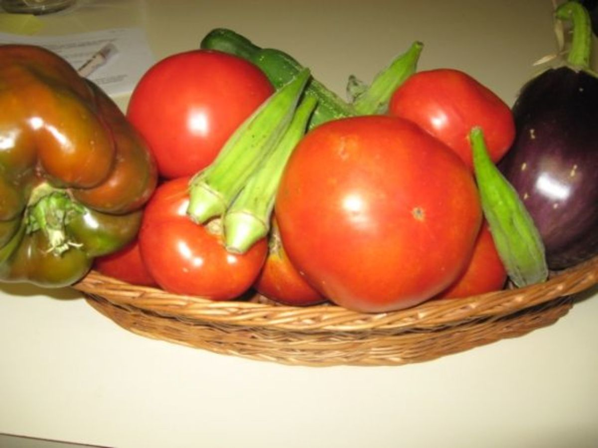 tomatoes, egg plant, okra