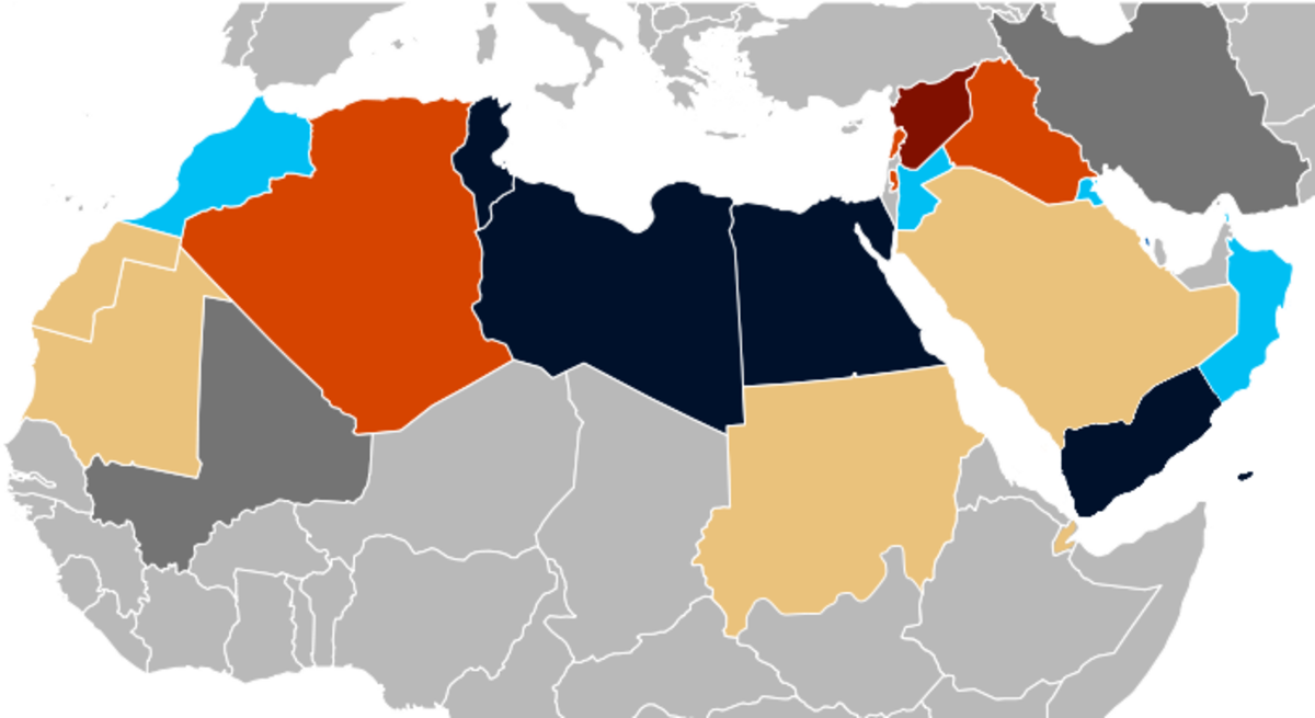 Arab spring Countries shown in different colors and bold relief
