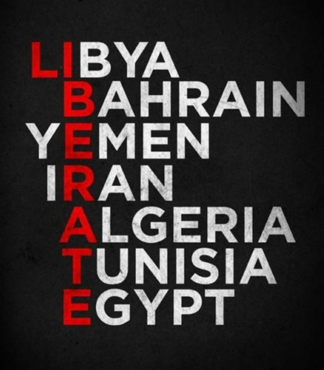 Liberate the oppressed Arab people in Africa and the Middle East as the sign read in red letters: LIBERATE