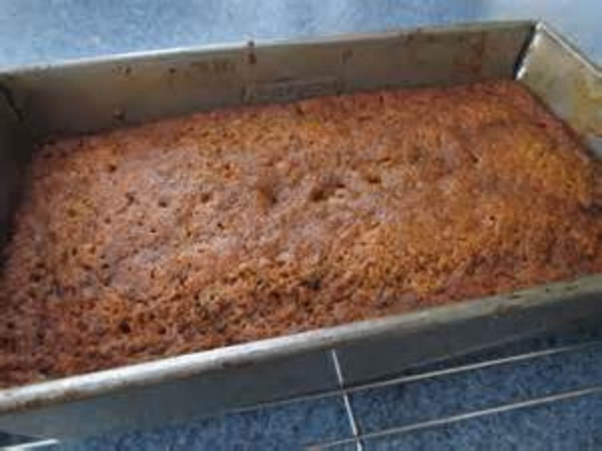Applesauce Cake in Pan from the Oven